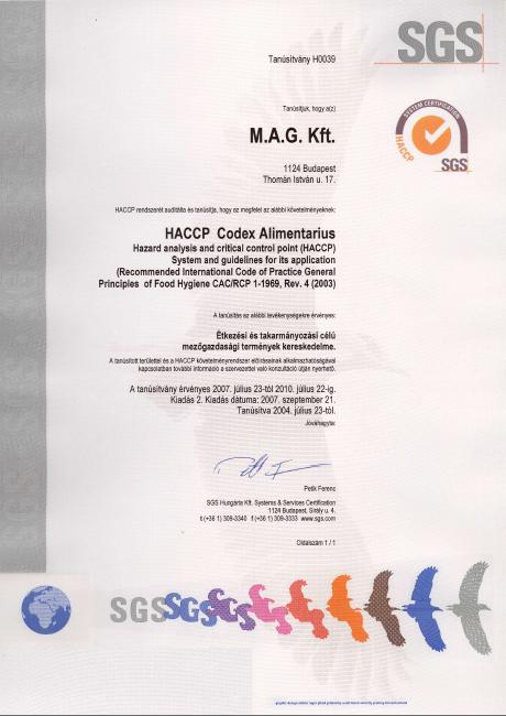 Mag Kft. SGS HACCP tanusítványa