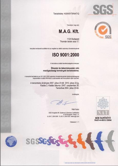 MAg Kft. SGS ISO 9001:2000 tanusítvány